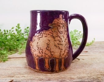 Sheep Nature Mug - 16 oz Purple - Wheel Thrown and Hand Carved Coffee Cup