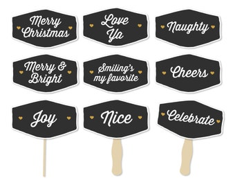 Christmas Photo Props - Christmas Party Props - Holiday Photo Booth - Merry and Bright - Naughty Nice Signs - Merry Christmas Sign - Gold