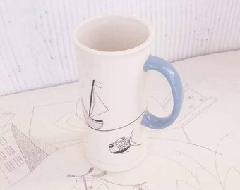Drawing Fishes on Cup, Funny Mug for Beer, Coffee, Hot Chocolate, Tea, Home and Living, Kitchen and Dining, Drinkware, Mugs