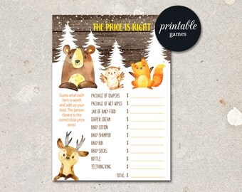 Baby Shower Price is right Woodland Baby Shower Game printable The Price is right Baby Shower Game, Boy Girl Baby Shower Game Winter baby