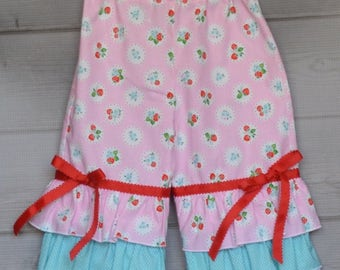 Custom Triple Ruffle Pants with Ribbon for Girls 12 months - 3 Years Choose your Colors and Fabrics to match any shirt
