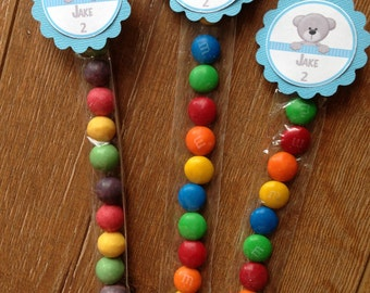 Teddy Bear Personalised Lolly Tubes ~ Birthday, Baby Shower, Christening ~ Blue