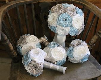 White, Silver, & Light Blue Wedding Bouquet Set, Light Blue Wedding Bouquets, Blue Fabric Bouquets, Winter Wedding Bouquets, Silver Bouquets