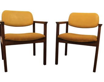 Mid-Century Lounge Chairs Danish Modern Pair of Yellow Walnut Open Arm Chairs