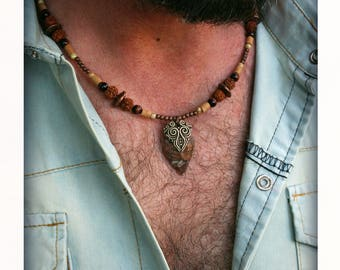 Arrowhead mens necklace Jasper stone mens bead jewery tribal ethnic boho earthy copper necklace for man clay pendant arrow necklace