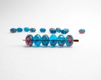Blue Plum Gemstone Donut Czech Glass Beads (20pcs) 7x11mm Puffy Rondelle Beads, Blue  Rondelle Beads, Blue Gemstone Donut Beads GMD0159