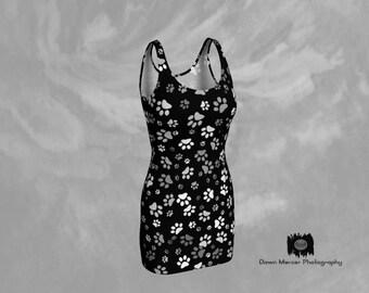 Paw Print Dress Tight Black Dress Printed Bodycon Dress Unique Sleeveless Dress Short Black Dress Womens Bodycon Dress Dog Paw Print