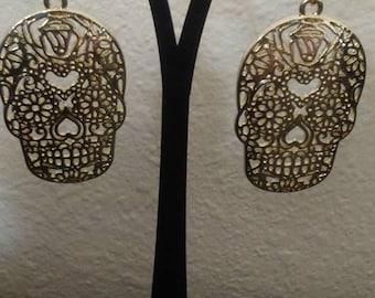 Large Gold Sugar Skull Earrings