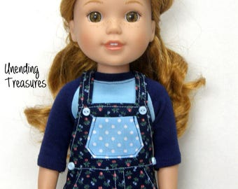14 inch doll clothes AG doll clothes navy floral overall jumper made to fit like wellie wishers doll clothes