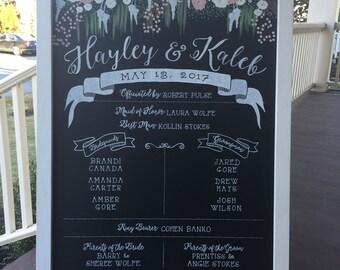 FRAMED 24x36  Chalkboard Wedding Program Ceremony Sign