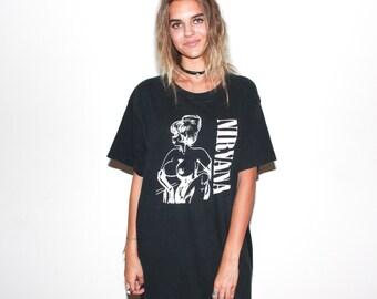 Super RARE Vtg Nirvana Bleach Era 90s Tour Concert T Shirt