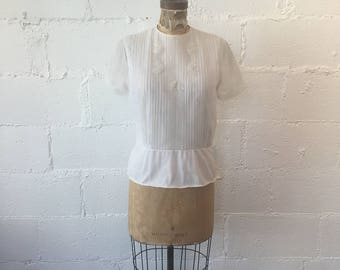 1950s White Nylon Blouse // 50s White Penny Potter Original // Vintage 1950s Nylon Blouse