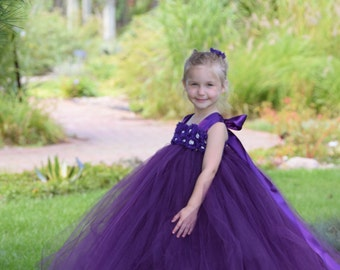 Flower girl dress - Tulle flower girl dress - Plum Dress - Tulle dress-Infant/Toddler - Pageant dress - Princess dress -Plum flower dress