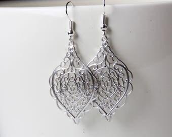 Silberne Ohrringe, earrings, filigree