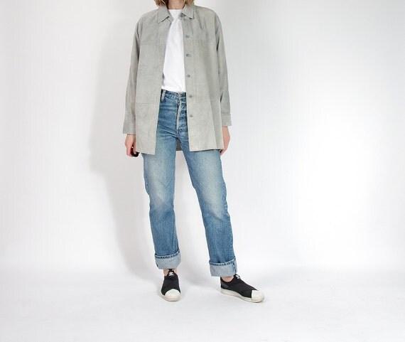 SALE 30% OFF - 90s Minimalist Lightgrey Genuine Suede Leather Shirt / Size L/XL