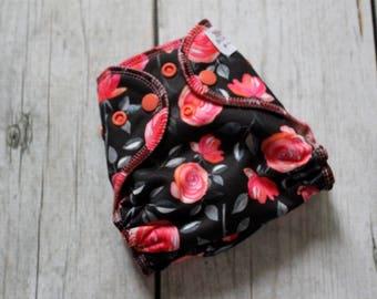 Newborn Floral Cloth Diaper - Newborn Diaper - Floral Diaper - All in Two - AI2 Cloth Diaper - Newborn AI2 - Newborn Diaper Cover - Black