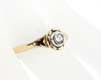 Vintage Rose Cut Diamond Ring, Vintage Handmade Diamond Ring, 9K Yellow Gold Ring, Diamond Solitaire Ring, Unusual Diamond Ring