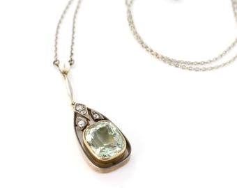 Vintage Beryl Necklace, Beryl Diamond and Seed Pearl Necklet, Beryl Set Gold and Silver Pendant on White Gold Chain, Green Gemstone Necklace