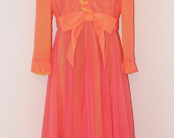 Vintage 1970s Pink Chiffon Formal Dress by Clifton Wilhite in size 18
