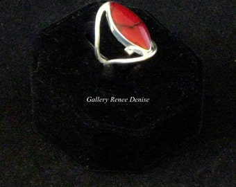 Red Jasper Ring Mexican Silver Ring Size 5 Vintage Red Ring SWR103