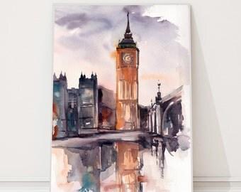 Big Ben - London Painting, ORIGINAL watercolor painting, Cityscape watercolour art