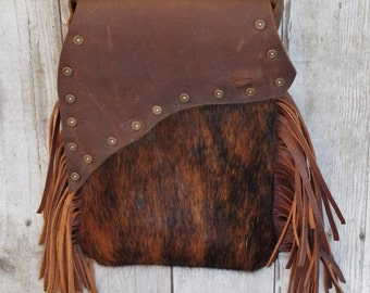 KELLIE Oil-Tanned Leather and Hair-On Cowhide Mini Handbag with Shotgun Shell Embellishment - One Of A Kind