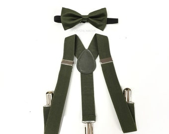 boys, boys suspenders, boys bow tie, hunter green, hunter green bow tie, hunter green suspenders, army green bowtie, army green suspenders