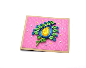 Mothers Day Card, Quilling Paisley Quilling Card Handmade Quilled Card Thank You Card Birthday Card All Occasion Card Diwali Card Blank Card