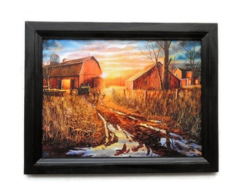 Barn and Tractor, Day is not Forgotten, Jim Hansel Print, Art Print, Wall Hanging, Handmade, 19X15, Custom Wood Frame, Made in the USA