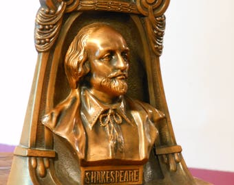 Solid Bronze Bust of Shakespeare Bookend