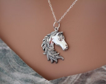 Sterling Silver Horse Pendant Necklace, Horse Head Pendant Necklace, Horse Lover Charm Necklace, Horse Necklace, Equestrian Necklace