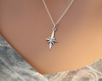 Sterling Silver North Star Necklace, North Star Necklace, North Star Charm Necklace, Celestial North Star Necklace, Outer Space North Star