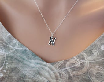 Sterling Silver Uppercase N Initial Charm Necklace, Oxidized Sterling Silver Uppercase N Letter Necklace, Uppercase N Necklace, Uppercase N