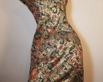 FREE  SHIPPING  1960 Gold Brocade Hourglass Dress