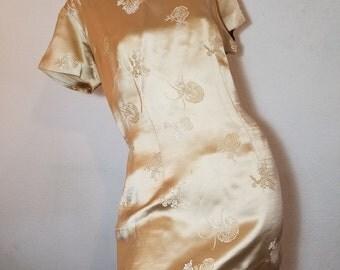 FREE  SHIPPING  1960  silk Mini  Dress