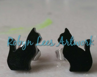 Tiny Black Laser Cut Cat Kitten Silhouette Outline Earrings on Stainless Steel Posts with Silver Butterfly Stud Backs