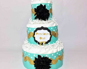 Aqua, Gold, & Black Precious One Girl Diaper Cake Centerpiece, Girl Baby Shower Diaper Cake