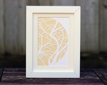Framed 5x7 Inch Tree Branches Paper Cut (Other Colours Available)