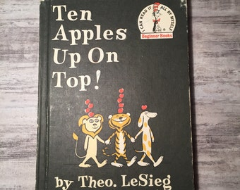 Ten Apples on Top by Theo LeSieg, Theodore LeSieg, Dr Seuss Beginner Books, 1961, illustrated by Roy McKie, Vintage Children's Book