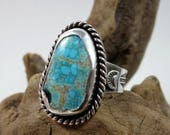 Turquoise and Sterling Silver Ring, size 6.75, No. 8 Turquoise, boho ring, Southwestern, gypsy ring, desert boho, sky blue, waterweb