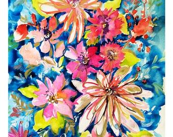 11x14 Pink Flowers Blue Background Dream Series Botanical Watercolor Art Print