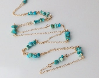Sleeping Beauty Turquoise Gold Fill Necklace, Long Boho Necklace, Sleeping Beauty Turquoise, December Birthstone, Boho Jewellery, Festival