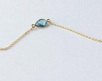 Blue Topaz Bracelet, Gold Bracelet, Sky Blue Bracelet, November Birthstone, Gemstone Bracelet, Vermeil, Dainty, Delicate, Gemstone Connector
