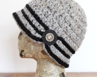 Grey Crocheted Cloche with Black Stripes and Button
