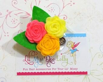 Flower Badge Reel-Hand Rolled Felt Flower- Felt Retractable Nursing ID Badge Holder-Medical Badge Reel(Set of 1)