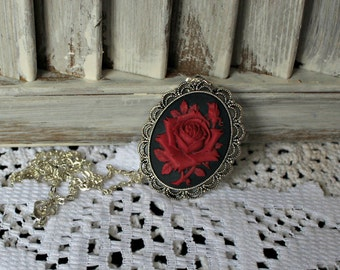 Rose. cameo. necklace. Handmade! Red/rose. Silver bezel. Silver chain. Pretty necklace!