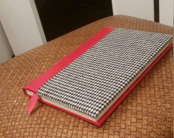 Vintage Notebook in Black and White Houndstooth Fabric with Red Binding Edge and Back, Perfect Condition, Great Little Gift!