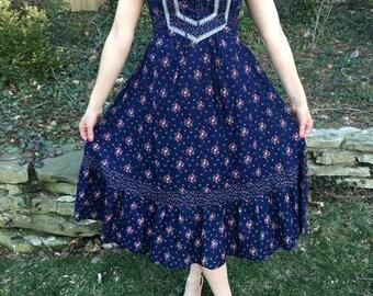 70's Gunne Sax Style Blue Floral Boho Prairie Dress Size Small