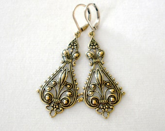 Art Nouveau Ornamental Earrings, Statement Filigree Earrings, Chandelier Earrings, Art Nouveau, Vintage Style, Dangle Earrings, Gift for Her