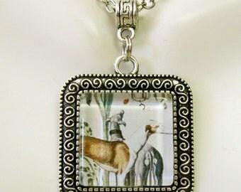 Greyhound pair pendant with chain - DAP02-008